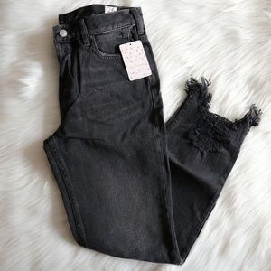Free People Chewed Up Mid rise Straight Jeans 26